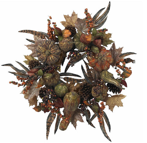 4907 Pumpkin Artificial Silk Autumn Wreath by Nearly Natural | 28 inches