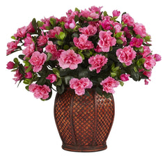 6653 Azalea Artificial Silk Plant w/Planter by Nearly Natural | 20 inches