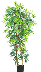 5187 Bamboo Artificial Silk Tree with Planter by Nearly Natural | 5 feet