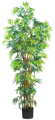 5188 Bamboo Artificial Silk Tree with Planter by Nearly Natural | 6 feet