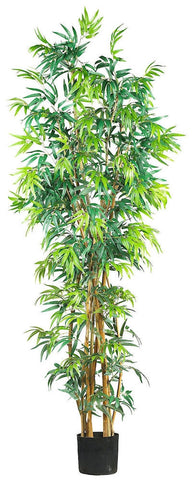 5189 Bamboo Artificial Silk Tree with Planter by Nearly Natural | 7 feet