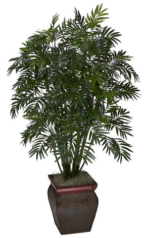 6717 Mini Bamboo Palm Silk Plant with Planter by Nearly Natural | 45 inches