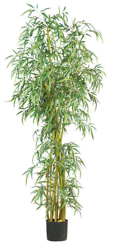 Slim Bamboo Artificial Silk Tree with Nursery Planter | 7 feet