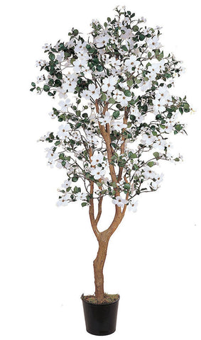 5019 Dogwood Artificial Silk Tree with Planter by Nearly Natural | 5 feet