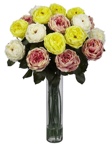 1219-AP Assorted Pastels Fancy Silk Roses in Water in 6 colors by Nearly Natural | 31 inches