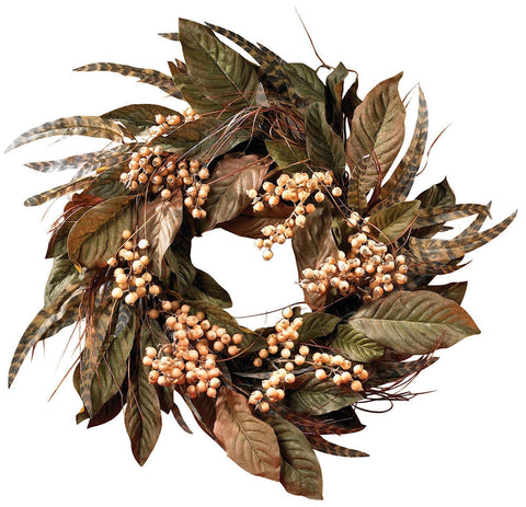 4681 Berry & Feather Artificial Autumn Wreath by Nearly Natural | 24 inches