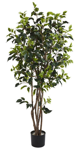 5333 Weeping Fig Ficus Silk Tree with Planter by Nearly Natural | 60 inches