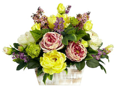 1258 Pink & Yellow Floral Silk Arrangement by Nearly Natural | 20 inches