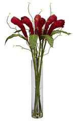 1242 Ginger Silk Flowers in Water with Vase by Nearly Natural | 3 feet
