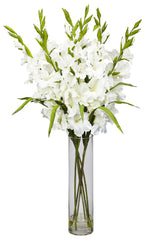 1240 Large Silk Gladiola in Water with Vase by Nearly Natural | 35 inches