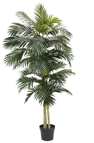 5326 Golden Cane Palm Silk Tree with Planter by Nearly Natural | 8 feet