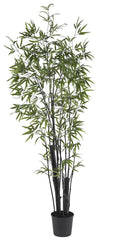 5164 Black Bamboo Artificial Tree with Planter by Nearly Natural | 6.5 feet