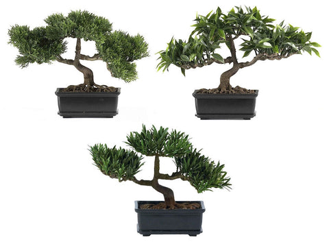 4121 Artificial Set of 3 Bonsai Trees by Nearly Natural | 12 inches wide