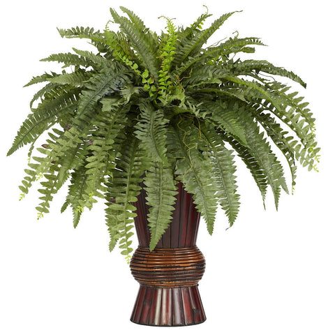 6628 Boston Fern Silk Plant with Planter by Nearly Natural | 33x30 inches