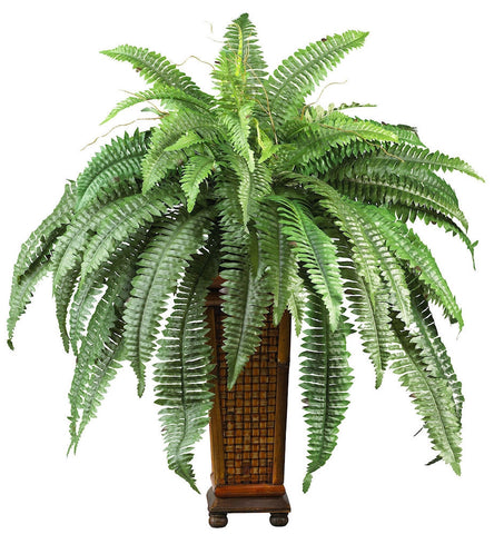 6553 Boston Fern Silk Plant with Planter by Nearly Natural | 33x32 inches