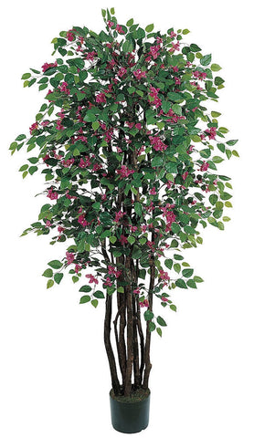 5021 Bougainvillea Silk Tree with Planter by Nearly Natural | 6 feet
