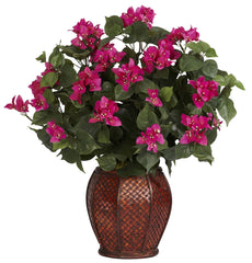 6652 Bougainvillea Silk Plant with Planter by Nearly Natural | 24.5 inches