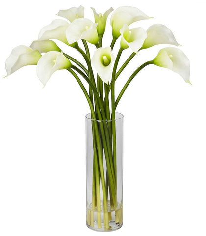 1187-CR Cream Mini Silk Calla Lily in Water in 4 colors by Nearly Natural | 20""
