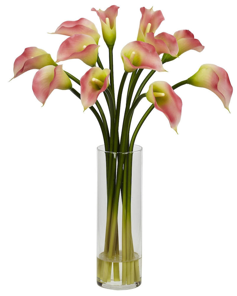Mini Calla Lily Silk Flowers In Water In 4 Colors 20 Inches