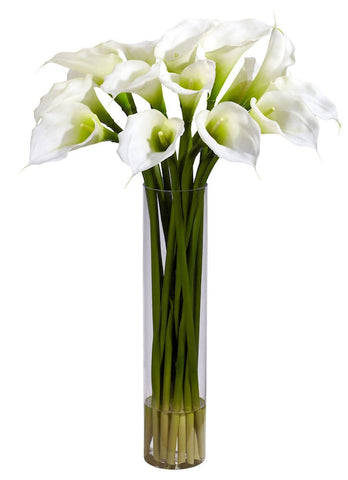1251-CR Cream Calla Lily Silk Flowers in Water in 3 colors by Nearly Natural | 27""
