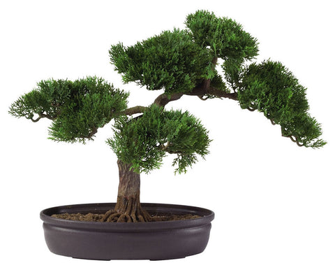 4106 Cedar Silk Bonsai Tree with Planter by Nearly Natural | 16 inches