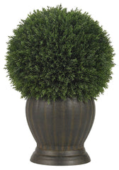 4123 Cedar Silk Ball Topiary Plant w/Planter by Nearly Natural | 14 inches