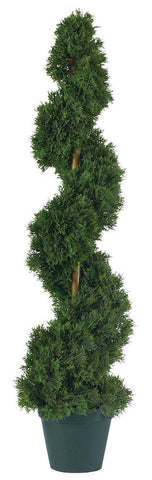 5161 Cedar Indoor Outdoor Silk Spiral Topiary by Nearly Natural | 3 feet