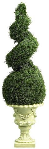 5222 Cedar Indoor Outdoor Silk Spiral Topiary by Nearly Natural | 4 ft