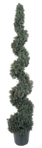 5166 Cedar Indoor Outdoor Silk Spiral Topiary by Nearly Natural | 5 feet