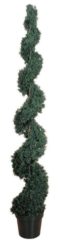 5167 Cedar Indoor Outdoor Silk Spiral Topiary by Nearly Natural | 6 feet