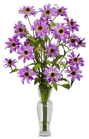1172-PP Purple Cosmos Silk Flowers in Water in 5 colors by Nearly Natural | 27 inches
