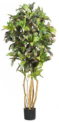 5180 Croton Artificial Silk Tree with Planter by Nearly Natural | 5 feet