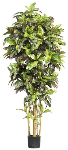 5211 Croton Artificial Silk Tree with Planter by Nearly Natural | 6 feet