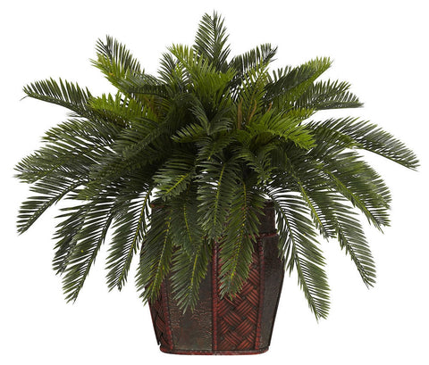 6658 Double Cycas Silk Plant with Planter by Nearly Natural | 19 inches