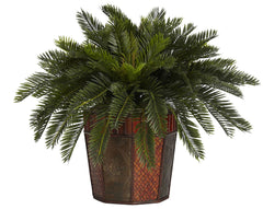 6654 Cycas Artificial Silk Plant with Planter by Nearly Natural | 22 inches