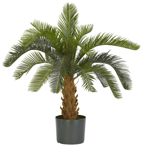 6099 Cycas Artificial Silk Plant with Planter by Nearly Natural | 28 inches