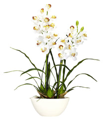 4803 Cymbidium Orchid Silk Plant in Bowl by Nearly Natural | 30 inches