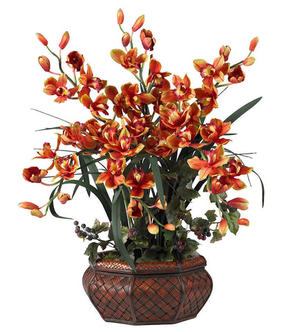 1199-BG Burgundy Large Silk Cymbidium Orchid in 2 colors by Nearly Natural | 3 feet