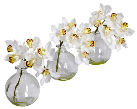 4797 Silk Cymbidium Orchids Set/3 in Water by Nearly Natural | 8 inches