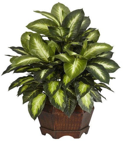6639 Golden Dieffenbachia Silk Plant by Nearly Natural | 24 inches