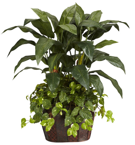6636 Double Bird of Paradise & Pothos Silk Plant by Nearly Natural | 4 feet