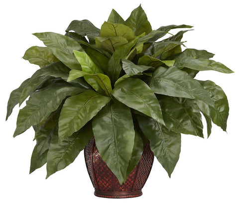 6659 Bird's Nest Fern Silk Plant with Planter by Nearly Natural | 23 inches