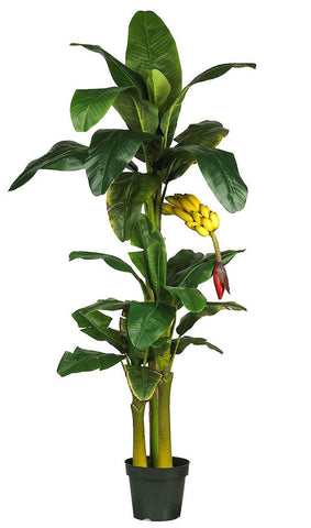 5226 Triple Banana Artificial Tree with Planter by Nearly Natural | 6 feet