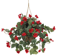 6616 Begonia Silk Plant with Hanging Basket by Nearly Natural | 32 inches
