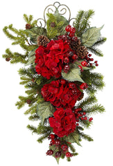 4926 Hydrangea Artificial Holiday Teardrop by Nearly Natural | 27 inches