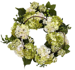 4780 Ivory Hydrangea Artificial Silk Wreath by Nearly Natural | 22 inches