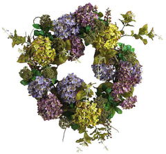 4666 Mixed Hydrangea Artificial Silk Wreath by Nearly Natural | 24 inches