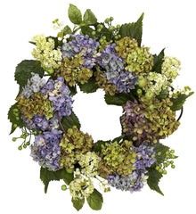 4781 Purple Hydrangea Artificial Silk Wreath by Nearly Natural | 22 inches