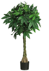 5249 Braided Trunk Silk Money Tree w/Planter by Nearly Natural | 51 inches