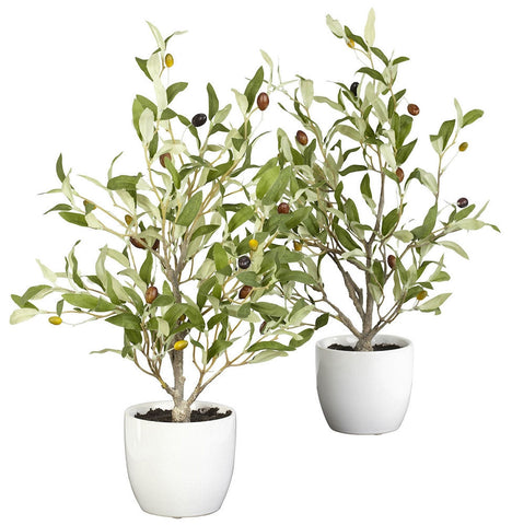 4774-S2 Olive Tree Set of 2 Silk with Planters by Nearly Natural | 18 inches